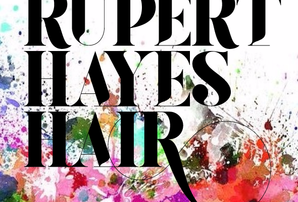 Rupert Hayes Hair logo with multi-coloured background